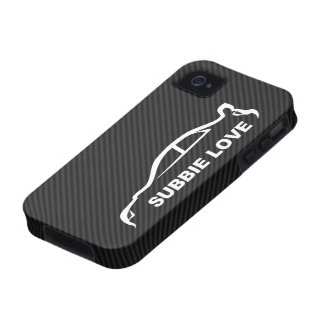 STI Impreza w/Faux Carbon FIber Background iPhone 4/4S Cases