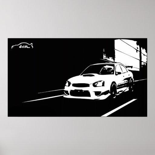 STI WRX Rolling Shot with Drift Logo Poster
