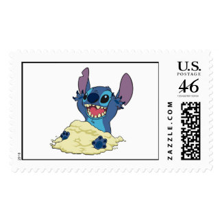 Stich Playing in Sand Disney Stamps