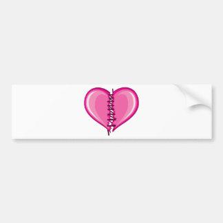 Stiched Broken Heart vector Bumper Sticker