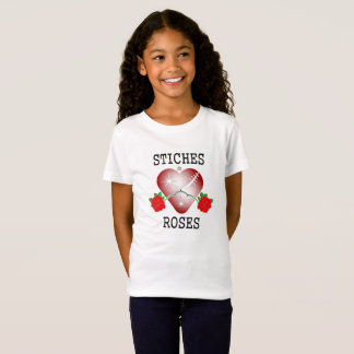 stiches & roses black letters T-Shirt