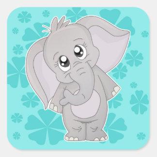 Sticjer-Cuadrado lindo del elefante Pegatina Cuadrada