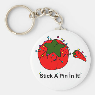 Stick A Pin In It! (Sewing Tomato) Basic Round Button Keychain