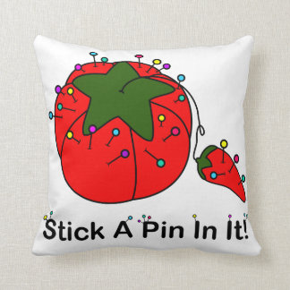 Stick A Pin In It! (Sewing Tomato) Throw Pillow
