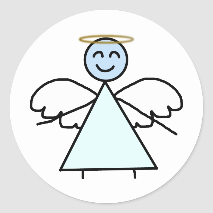 Stick Angel Classic Round Sticker