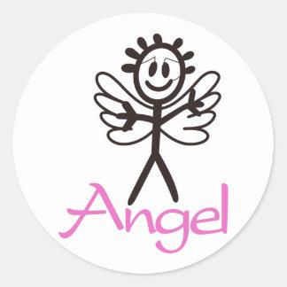 Stick Angel Classic Round Sticker