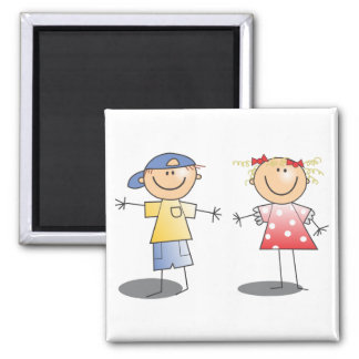 STICK BOY AND GIRL WEARING CLOTHES ~ GRAPHIC ART 2 INCH SQUARE MAGNET