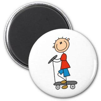 Stick Boy on Scooter 2 Inch Round Magnet