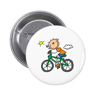 Stick Boy Riding Bicycle 2 Inch Round Button