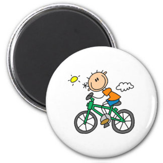 Stick Boy Riding Bicycle 2 Inch Round Magnet