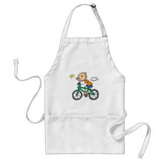Stick Boy Riding Bicycle Adult Apron
