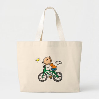 Stick Boy Riding Bicycle Jumbo Tote Bag