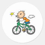 Stick Boy Riding Bicycle Classic Round Sticker