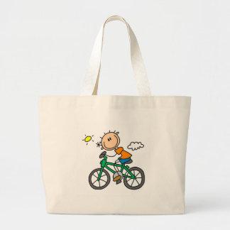 Stick Boy Riding Bicycle Large Tote Bag