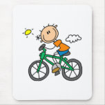 Stick Boy Riding Bicycle Mouse Pad