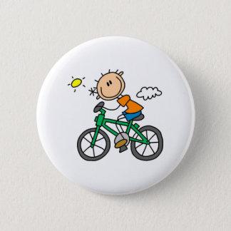 Stick Boy Riding Bicycle Pinback Button