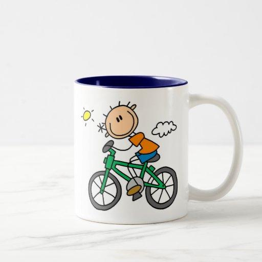 Stick Boy Riding Bicycle Two-Tone Coffee Mug