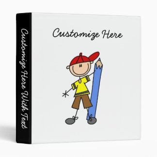 Stick Boy With Pencil 3 Ring Binder
