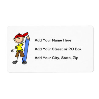 Stick Boy With Pencil Shipping Label