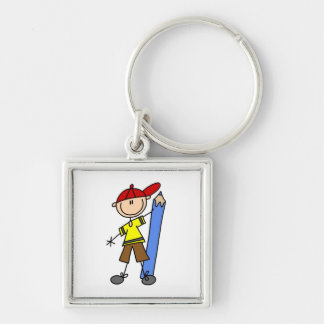 Stick Boy With Pencil Silver-Colored Square Keychain