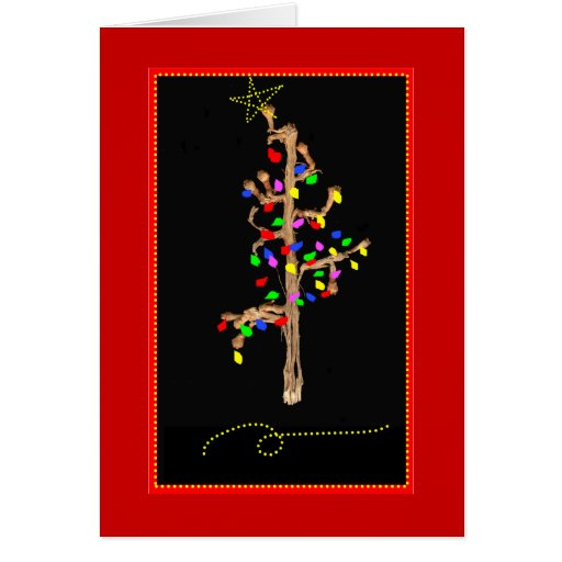 Stick Christmas Tree Greeting Card