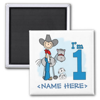 Stick Cowboy 1st Birthday 2 Inch Square Magnet