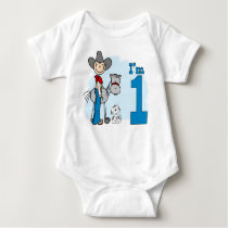 Stick Cowboy 1st Birthday Baby Bodysuit