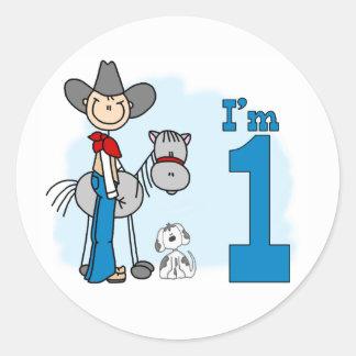 Stick Cowboy 1st Birthday Classic Round Sticker