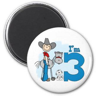 Stick Cowboy 3rd Birthday 2 Inch Round Magnet