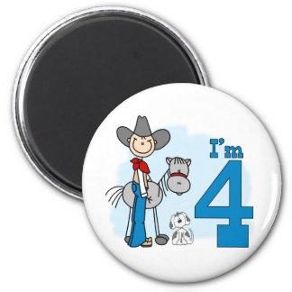 Stick Cowboy 4th Birthday 2 Inch Round Magnet