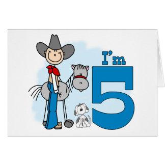 Stick Cowboy 5th Birthday Card