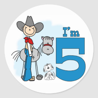Stick Cowboy 5th Birthday Classic Round Sticker