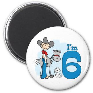 Stick Cowboy 6th Birthday 2 Inch Round Magnet