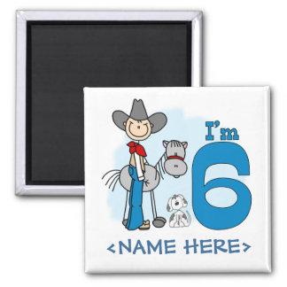 Stick Cowboy 6th Birthday 2 Inch Square Magnet