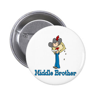 Stick Cowboy Middle Brother 2 Inch Round Button