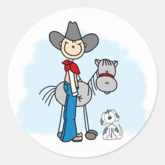 Stick Cowboy N Horse Classic Round Sticker