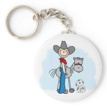 Stick Cowboy N Horse Keychain