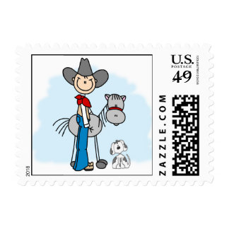 Stick Cowboy N Horse Postage Stamps