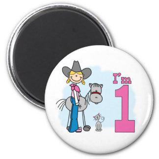 Stick Cowgirl 1st Birthday 2 Inch Round Magnet