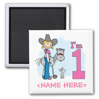 Stick Cowgirl 1st Birthday 2 Inch Square Magnet