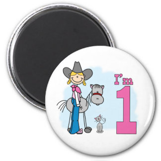 Stick Cowgirl 1st Birthday Magnet