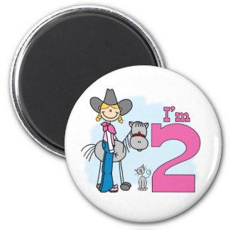 Stick Cowgirl 2nd Birthday 2 Inch Round Magnet