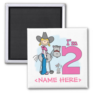 Stick Cowgirl 2nd Birthday 2 Inch Square Magnet