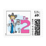 Stick Cowgirl 2nd Birthday Postage Stamp