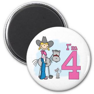 Stick Cowgirl 4th Birthday 2 Inch Round Magnet