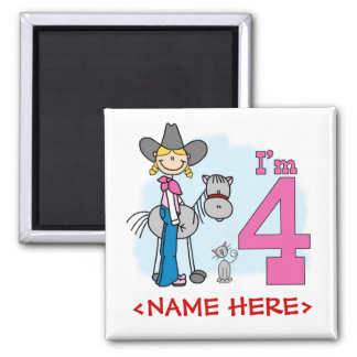 Stick Cowgirl 4th Birthday 2 Inch Square Magnet
