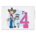 Stick Cowgirl 4th Birthday Card