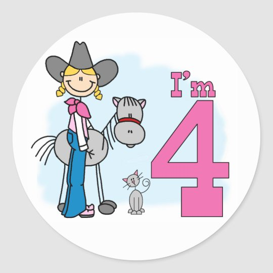 Stick Cowgirl 4th Birthday Classic Round Sticker