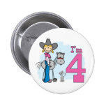 Stick Cowgirl 4th Birthday Pins