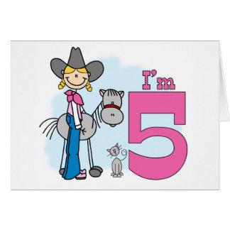 Stick Cowgirl 5th Birthday Card